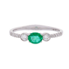 3-Stone Emerald and Diamond Ring