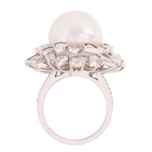 Vintage Pearl and Rose Cut Diamond Halo Ring
