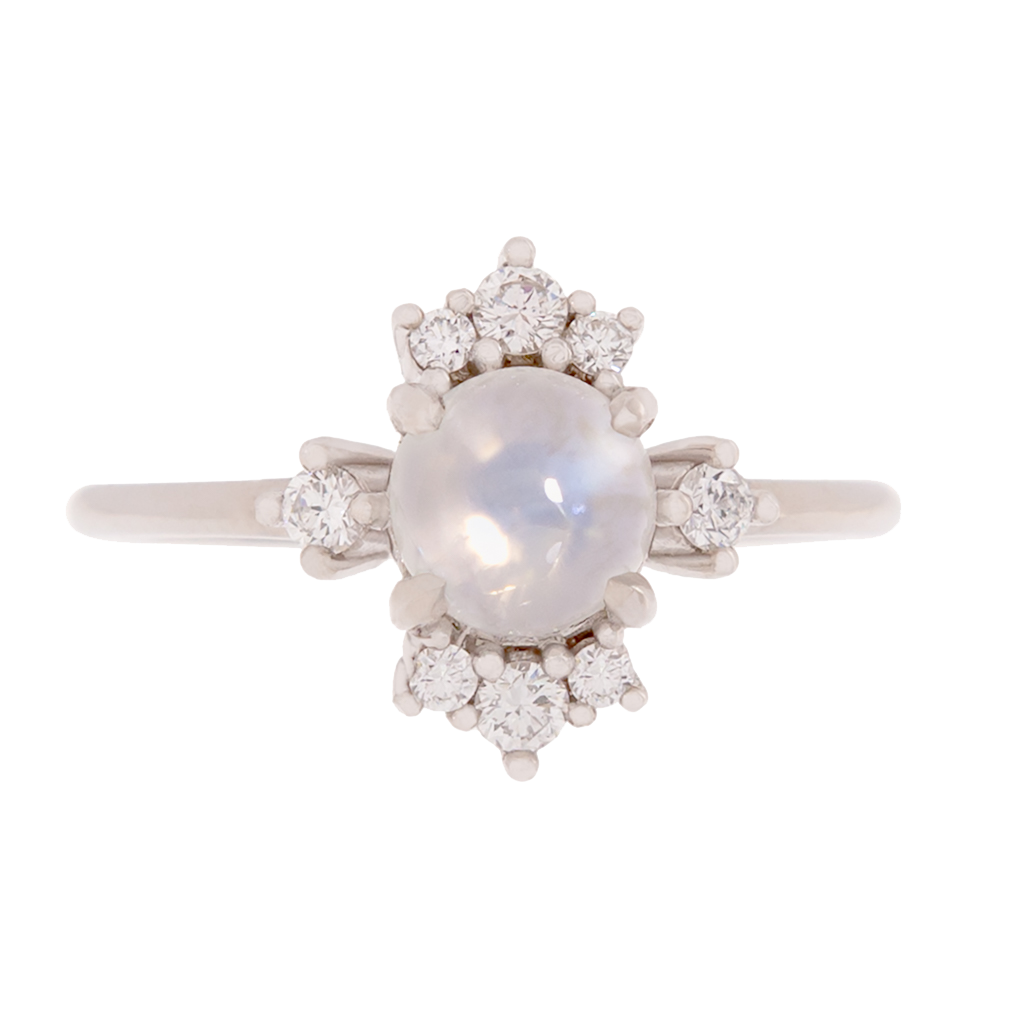 Cat's Eye Moonstone With Diamond Accent Ring