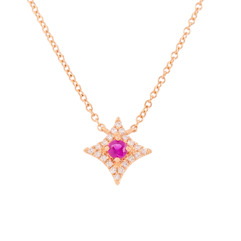 Ruby and Diamond Star Necklace