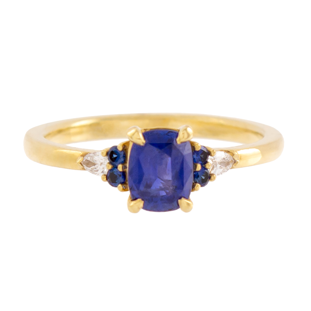 AGL Certified No Heat Cushion Cut Ceylon Sapphire Ring