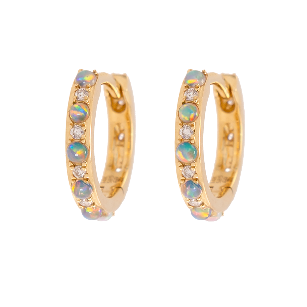 Alternating Opal & Diamond Huggies