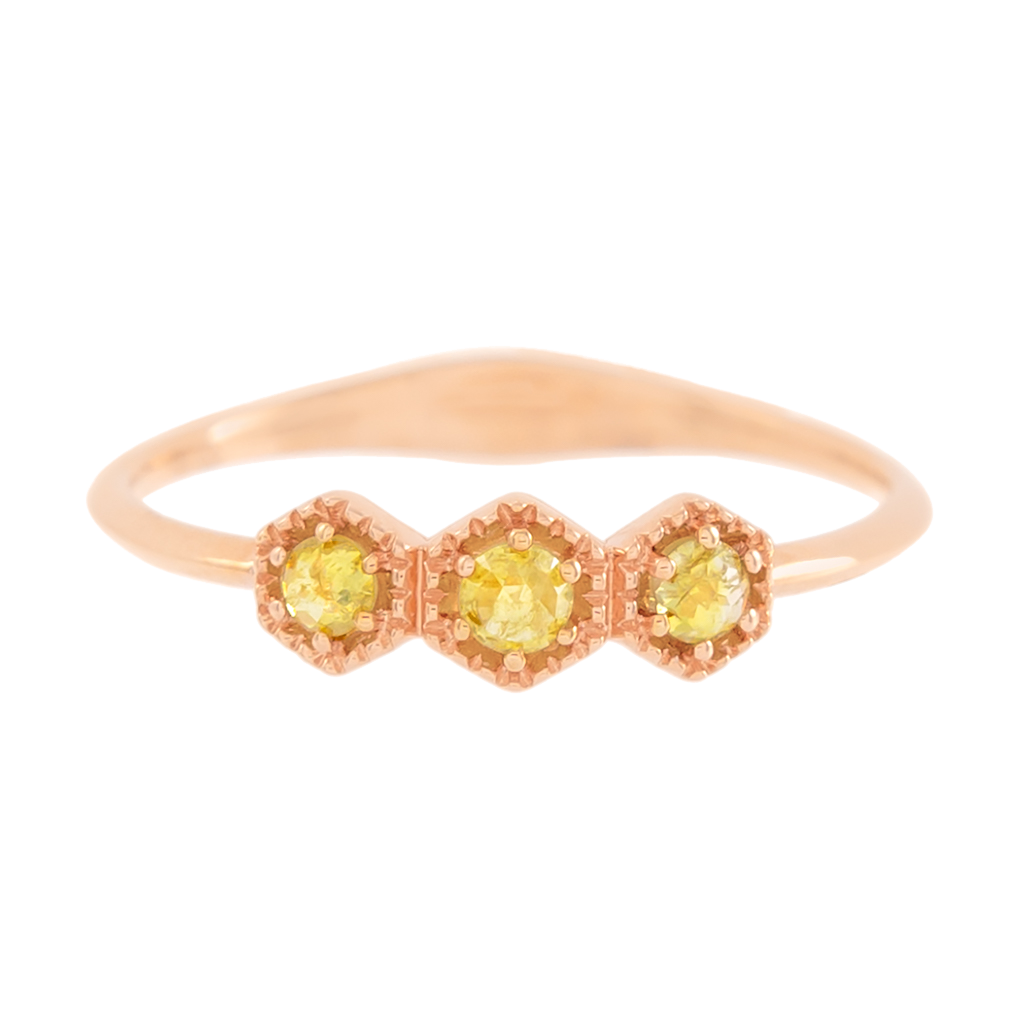 Dainty 3-Stone Rose Cut Yellow Diamond Ring
