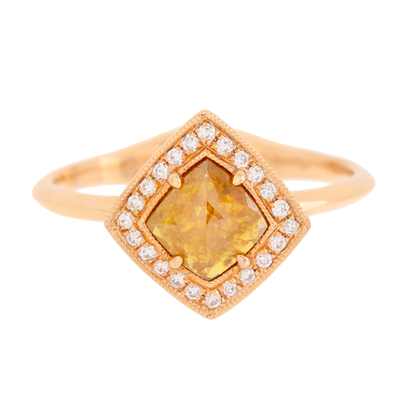 Rose Cut Yellow Diamond Ring