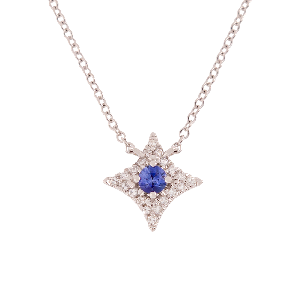 Sapphire and Diamond Star Necklace