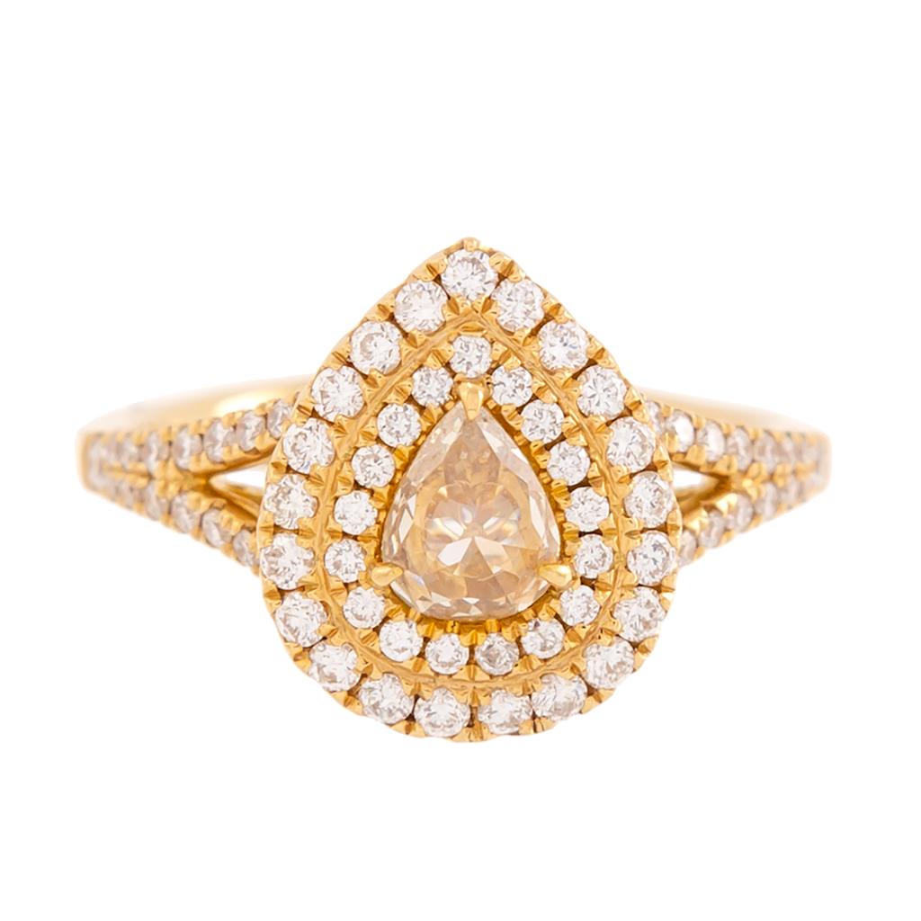 Fancy Light Yellow Diamond Double Halo Ring