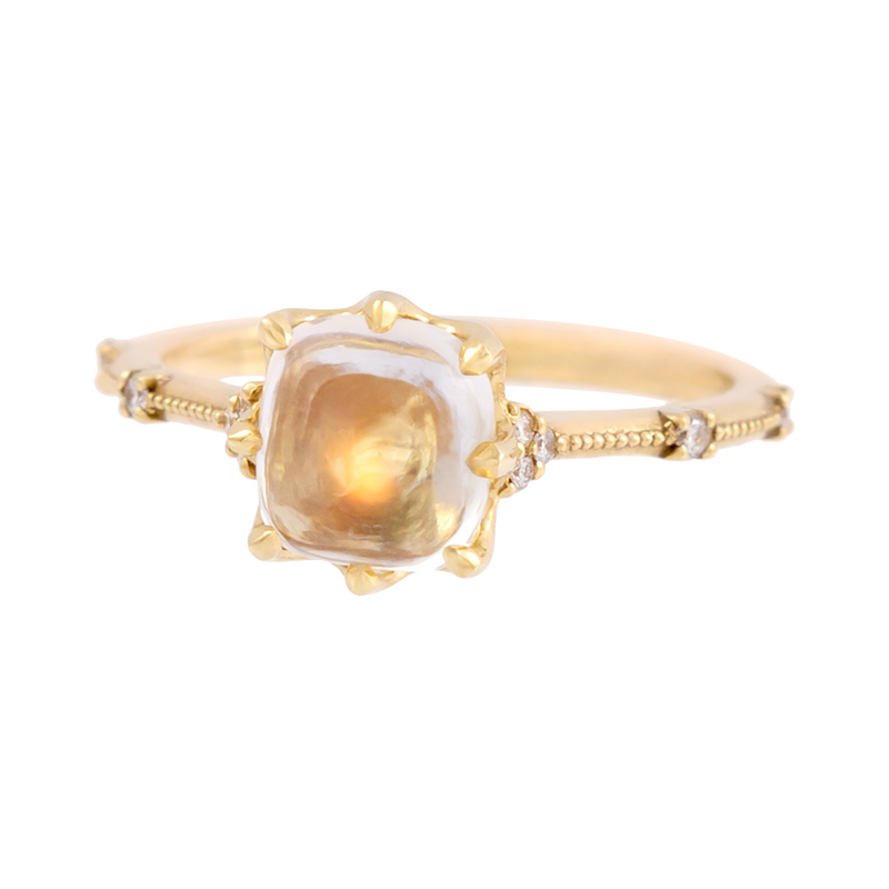 Round Moonstone & Diamond Ring