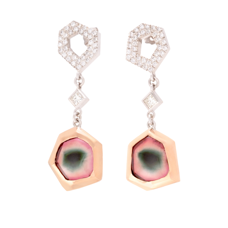 Watermelon Tourmaline Slice & Diamond Drop Earrings