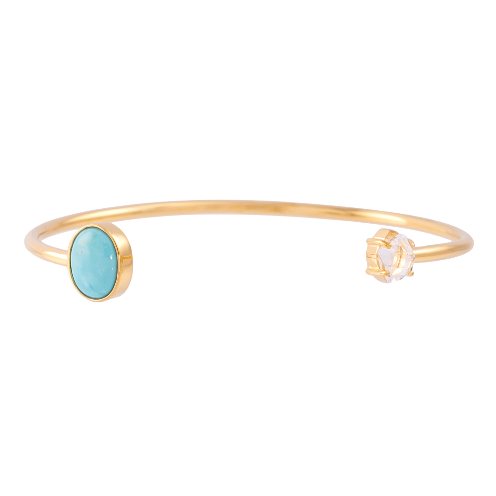 Signature Herkimer and Oval Turquoise Wire Bracelet