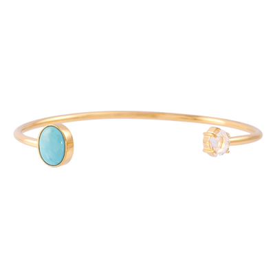 2-Stone Herkimer and Oval Turquoise Wire Bracelet Gold Plated