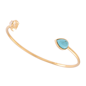 Signature Herkimer and Pear Turquoise Wire Bracelet