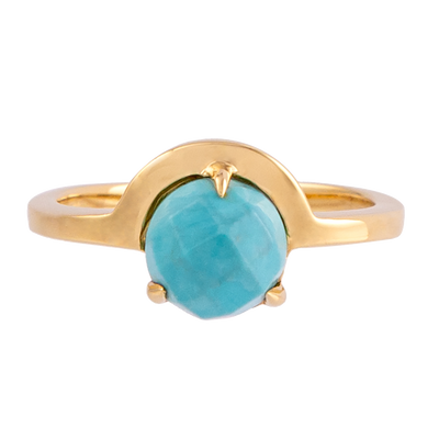 Faceted Turquoise Half Moon Ring