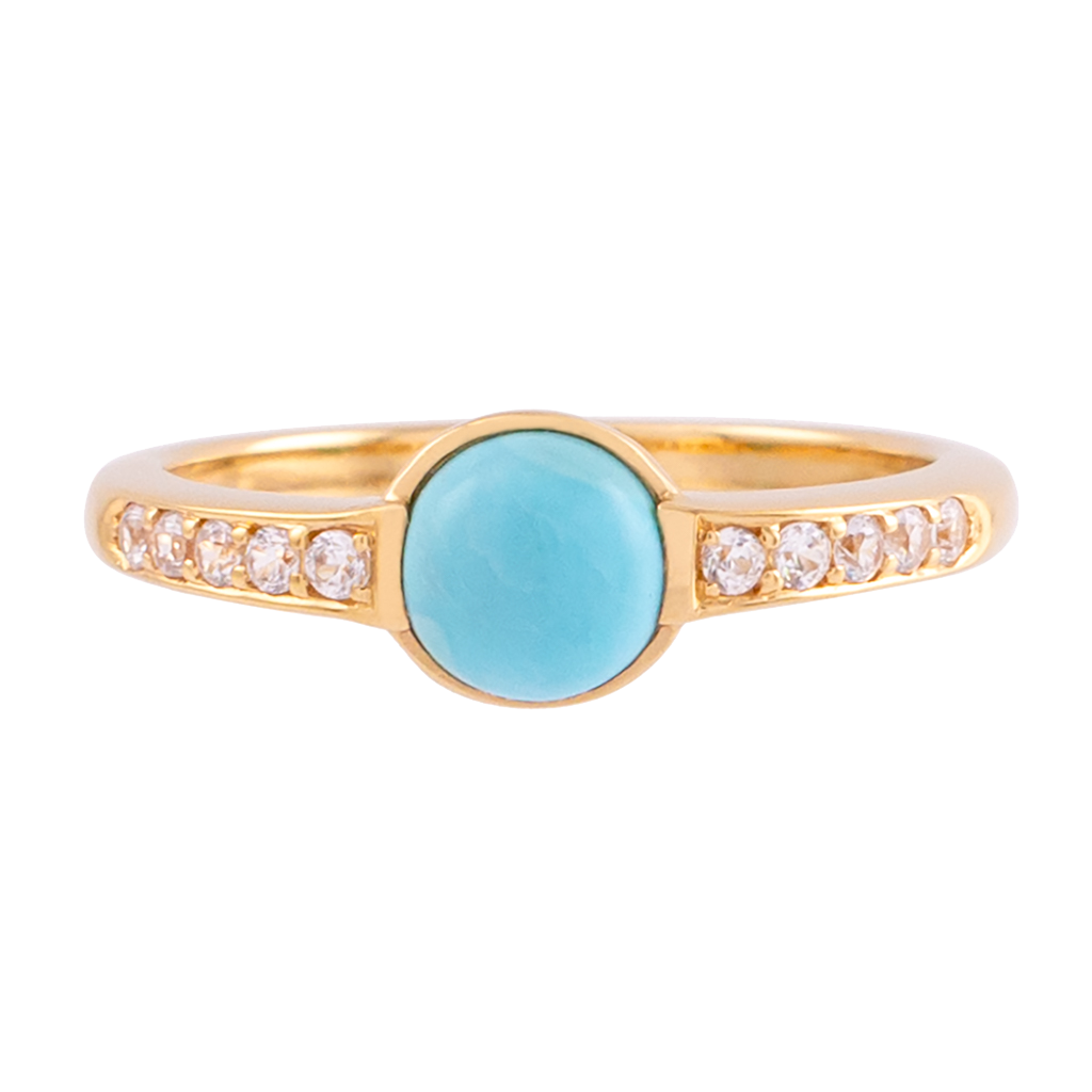 Turquoise and Zircon Ring