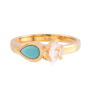 2-Stone Herkimer Diamond and Turquoise Teardrop Ring