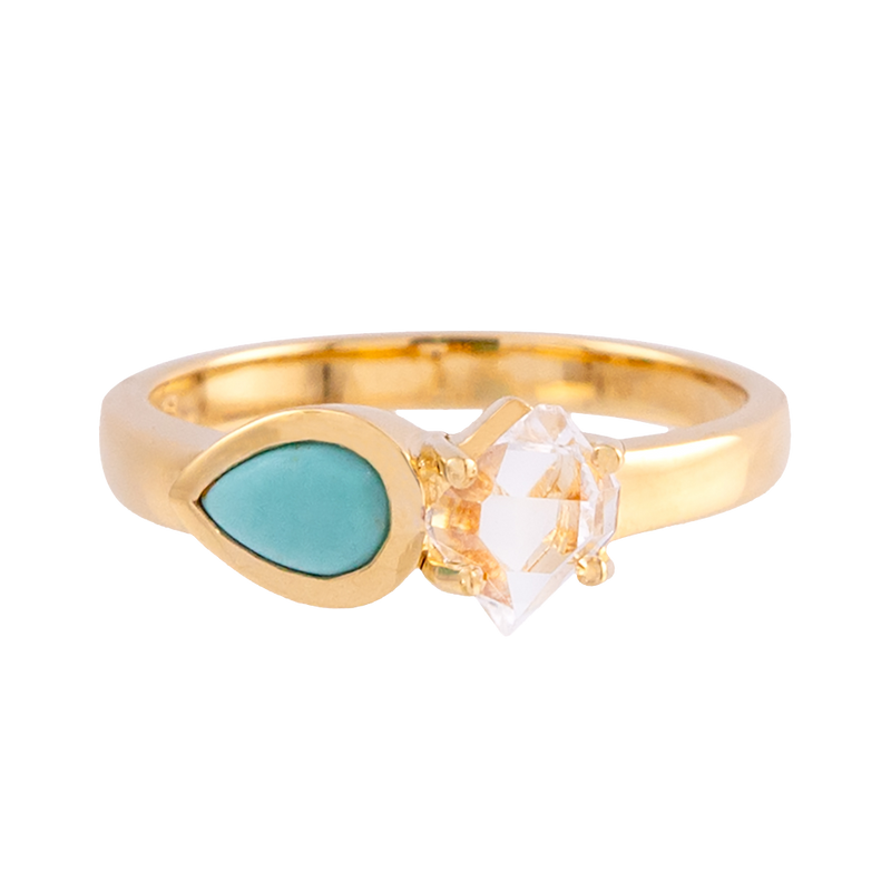 Signature Herkimer Diamond and Turquoise Teardrop Ring
