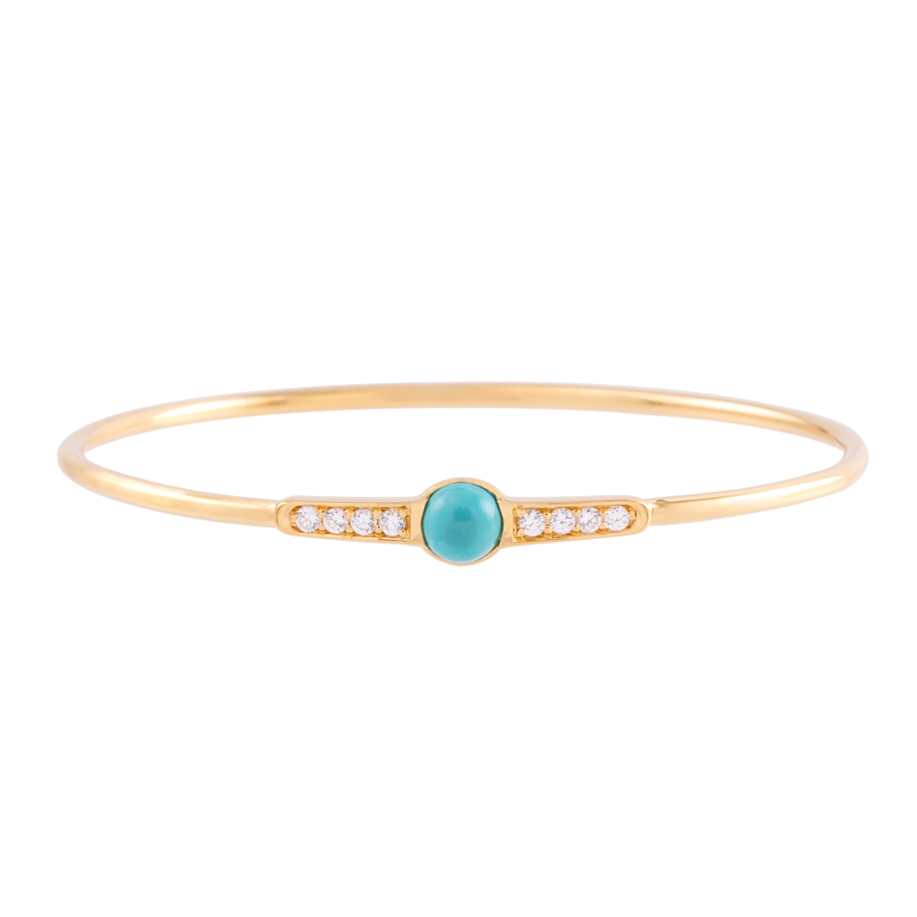 Turquoise and White Zircon Bangle Silver