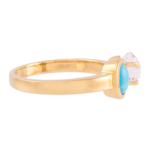 Signature Herkimer Diamond and Turquoise Oval Ring