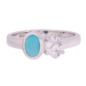 2-Stone Herkimer Diamond and Turquoise Oval Ring