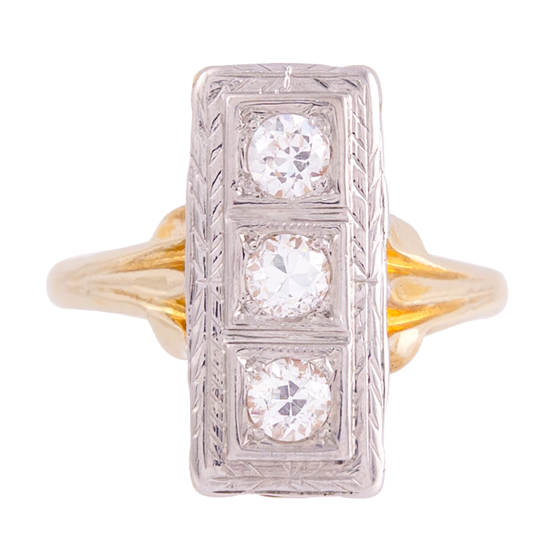 1930s Elongated Vintage Diamond Ring