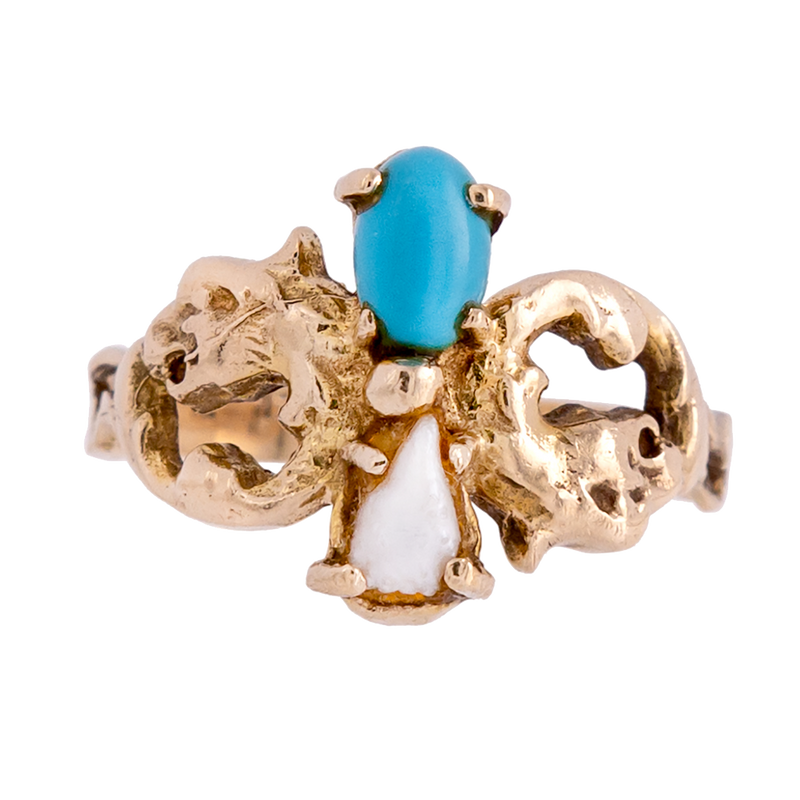 Dragon Art Nouveau Turquoise and Pearl Ring