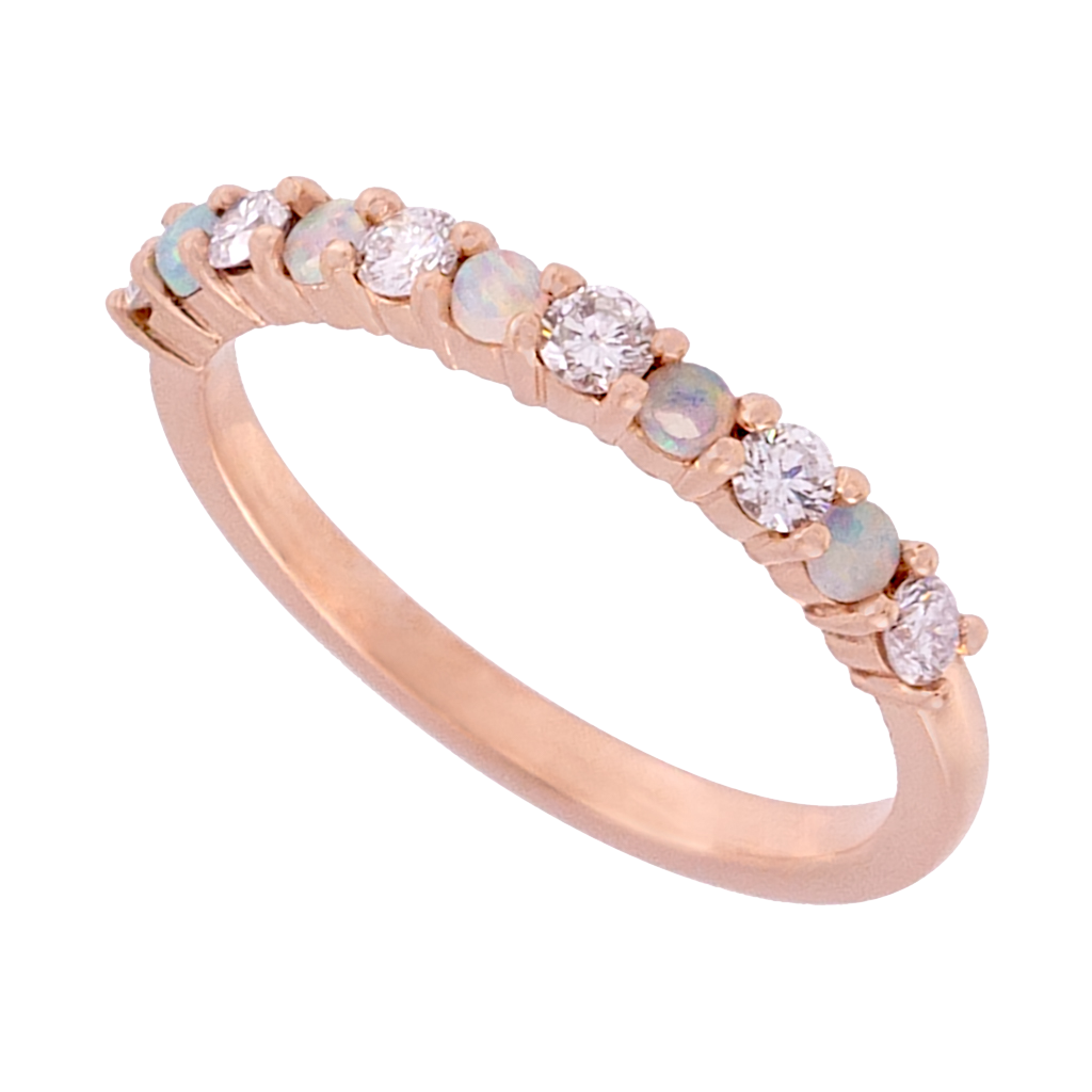 Alternating Opal and Diamond Band