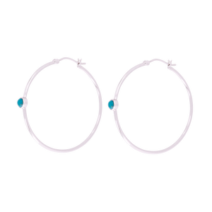 Turquoise Hoop Earrings Silver