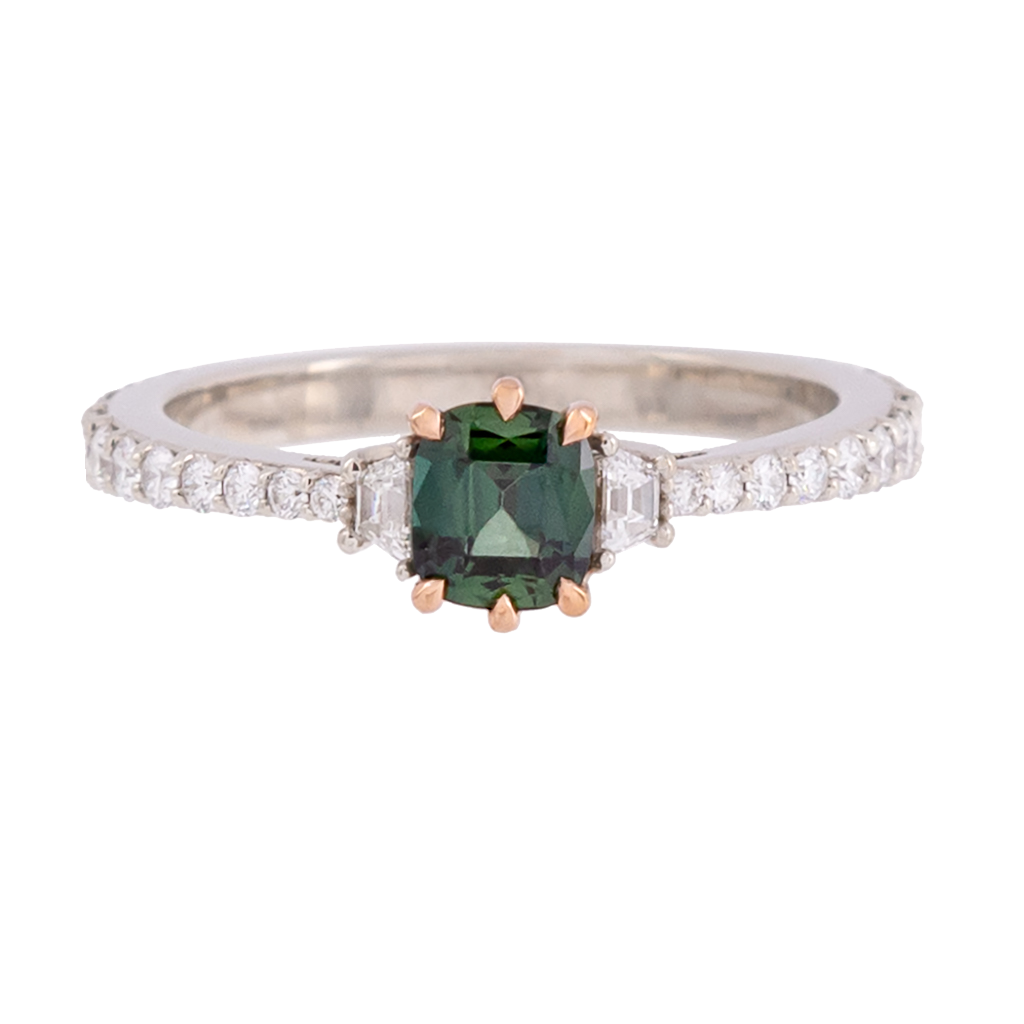 Three Stone No Heat Green Sapphire and Diamond Ring