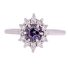 Hexagon Lavender Spinel With Diamond Halo Ring