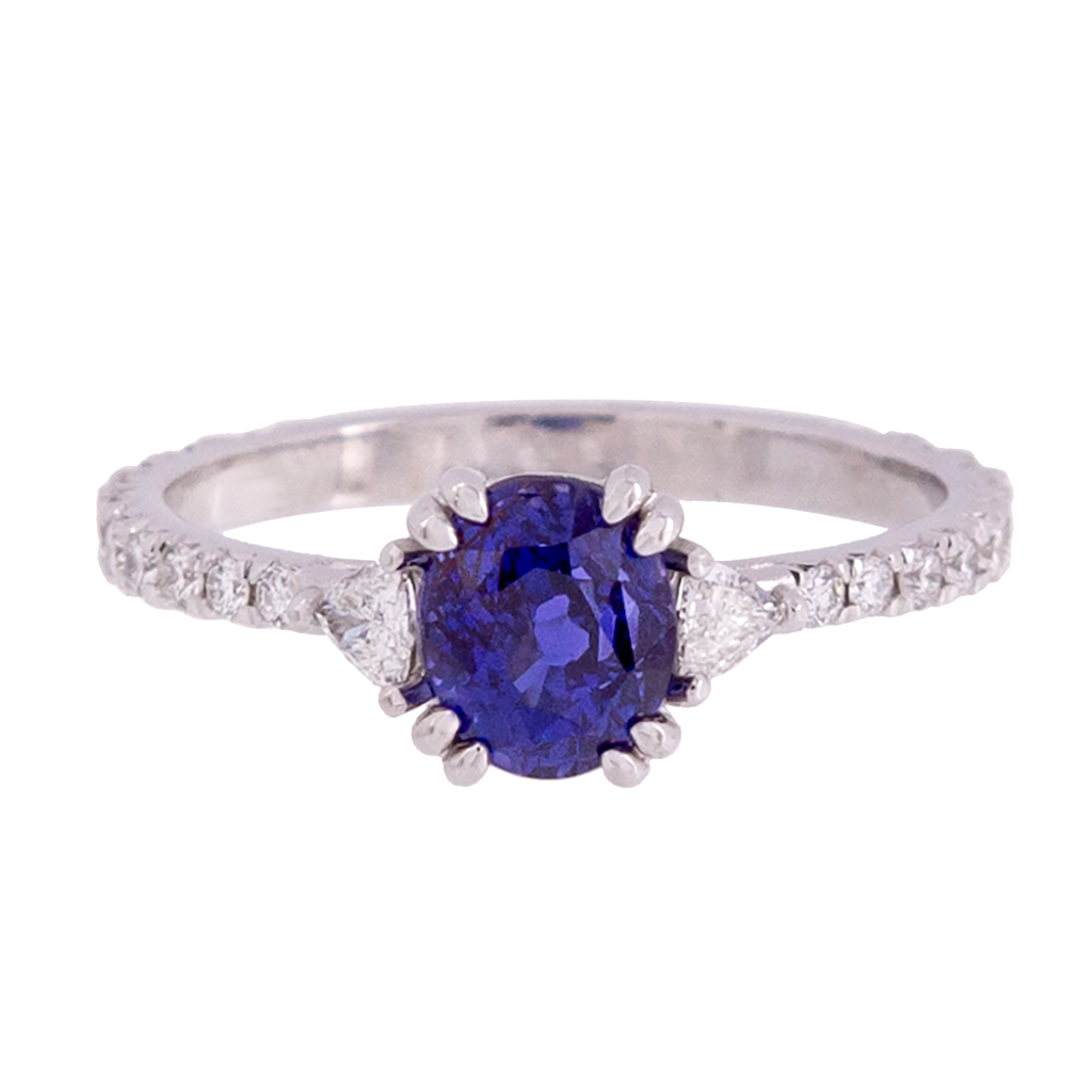Three Stone No Heat Ceylon Sapphire and Trillion Diamond Ring