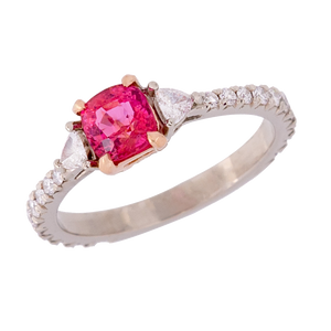 Three Stone Cushion Jedi Spinel and Diamond Ring