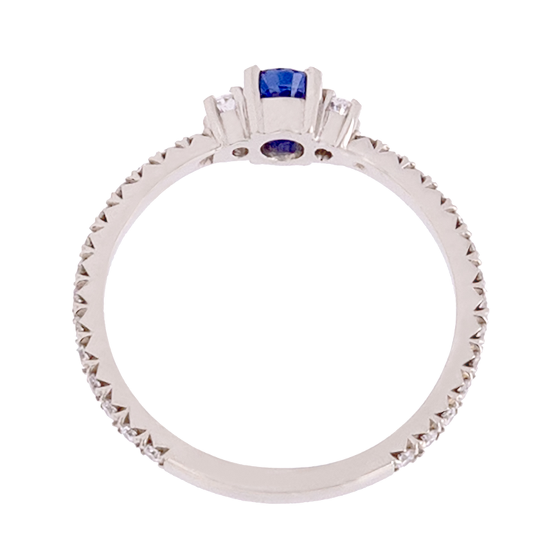 Three Stone No Heat Ceylon Sapphire and Diamond Ring