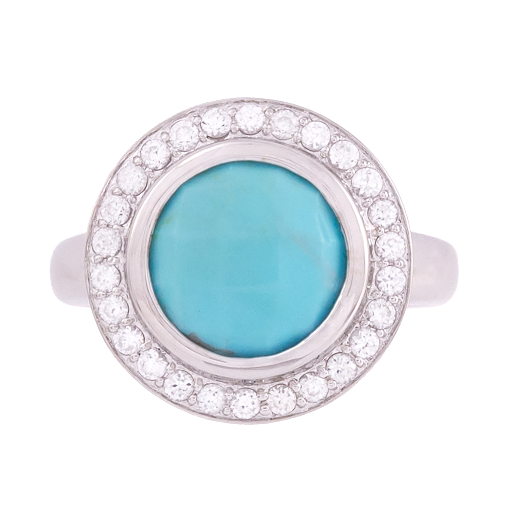 Turquoise and Zircon Faceted Ring