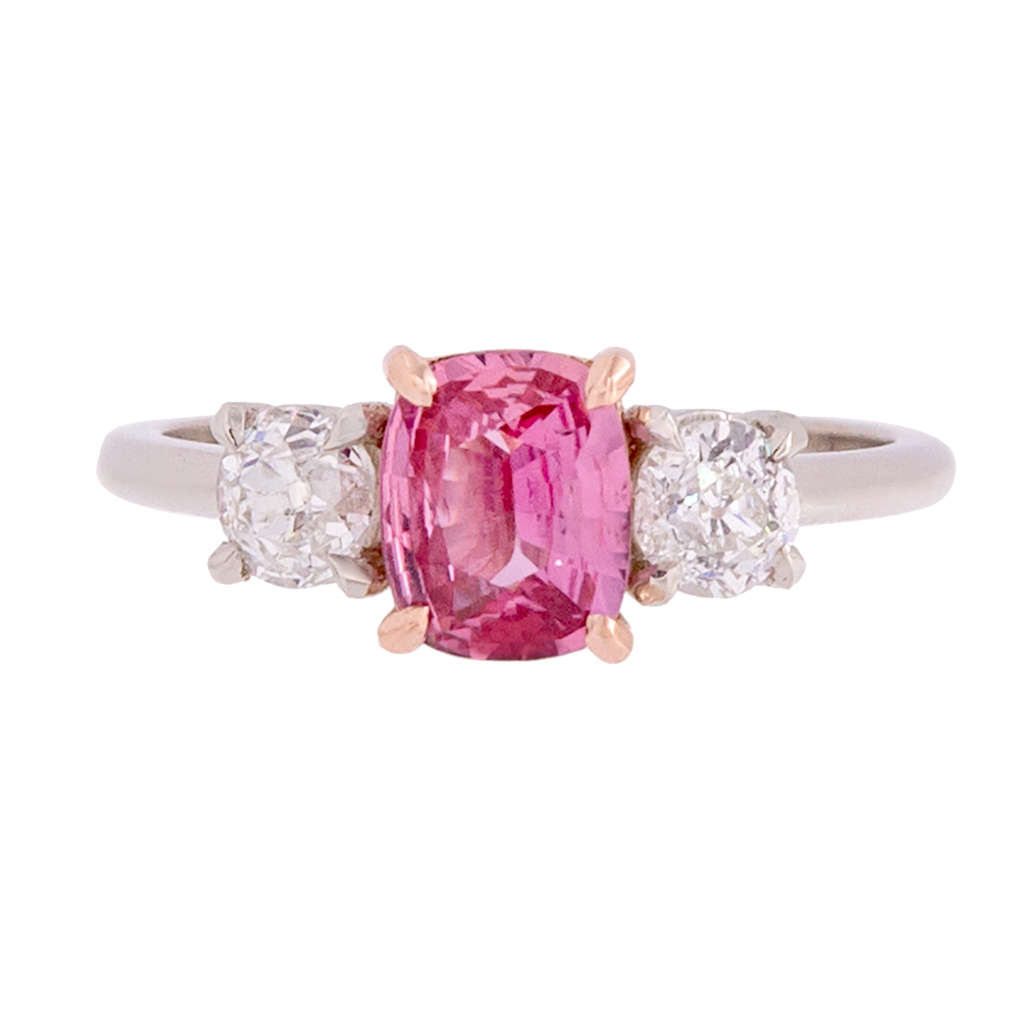 Three Stone Padparadscha Sapphire and Diamond Ring