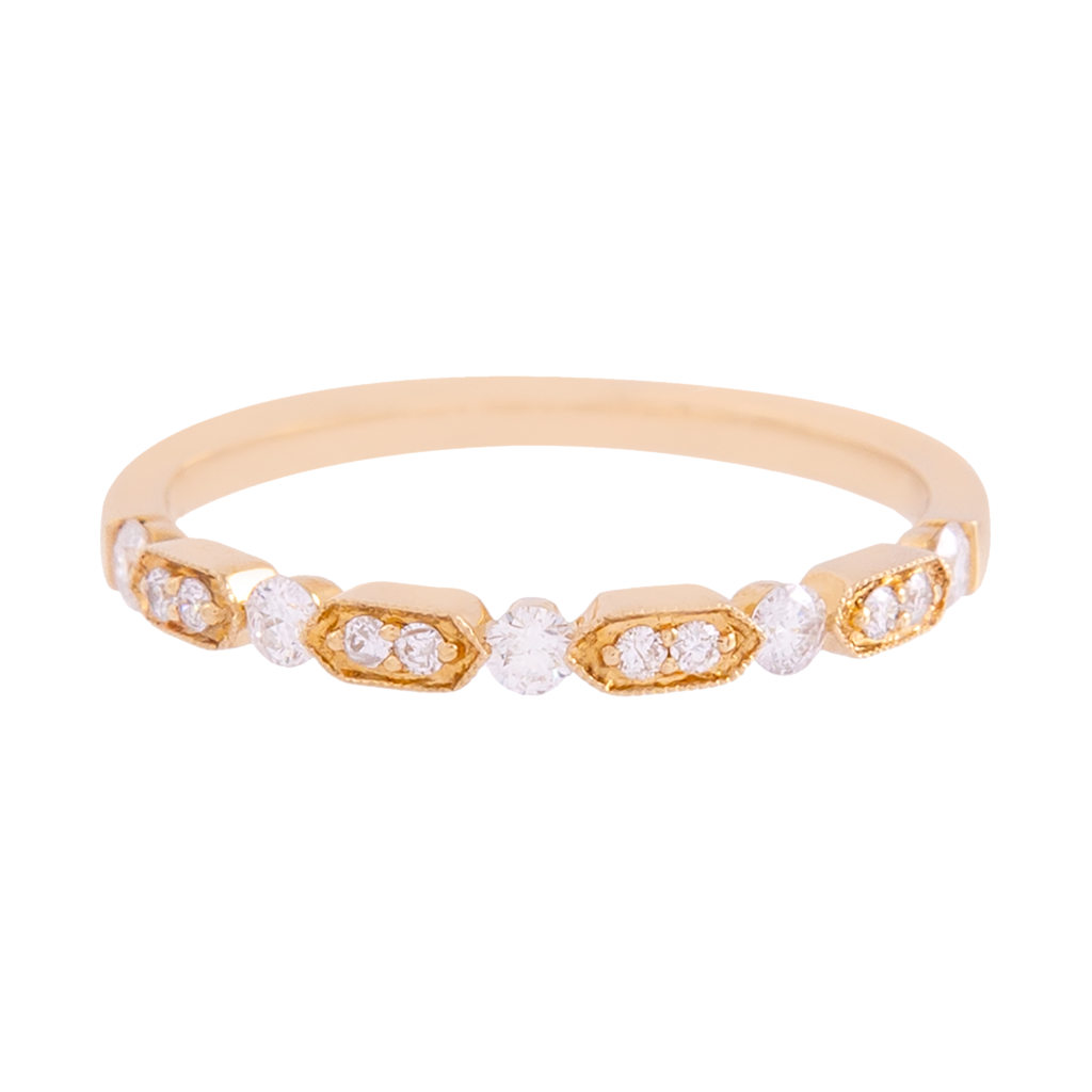 Yellow Gold Diamond Deco Band