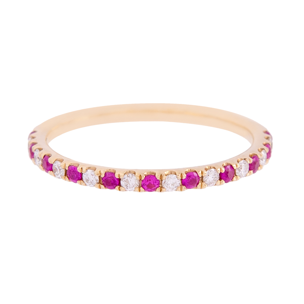 Alternating Ruby and Diamond Dainty Band
