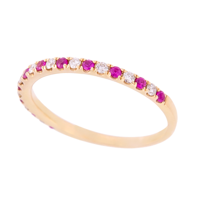 Alternating Ruby and Diamond Band