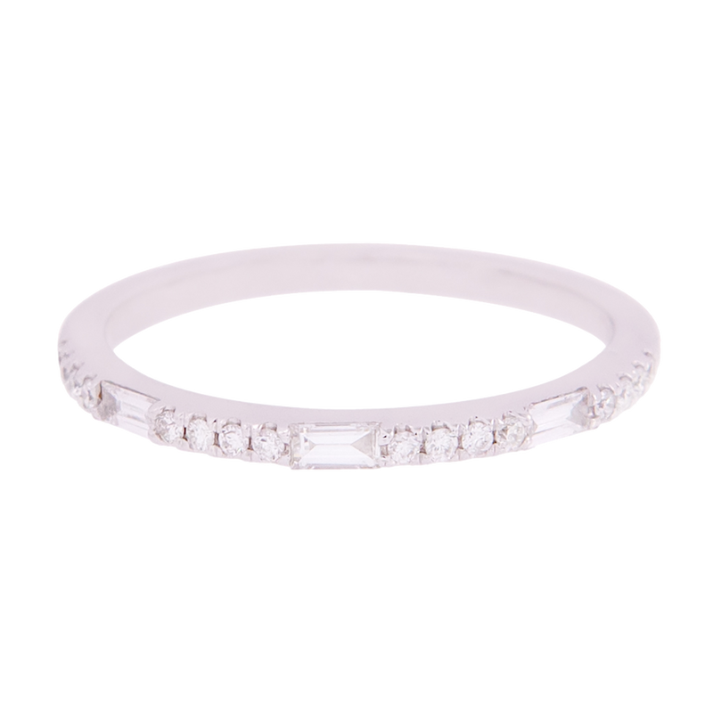 White Gold Round & Baguette Diamond Band
