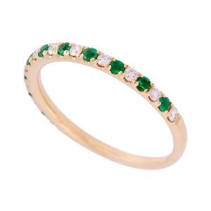 Alternating Emerald and Diamond Dainty Band