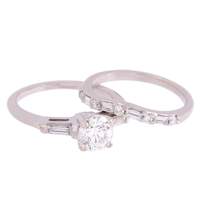 Three Stone Diamond Engagement Ring and Band Set