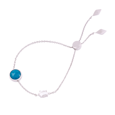 Constellation Round Turquoise and Herkimer Bolo Bracelet