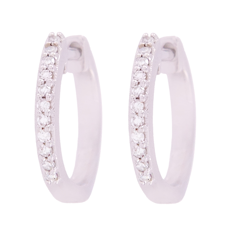 White Gold Diamond Small Hoop Earrings