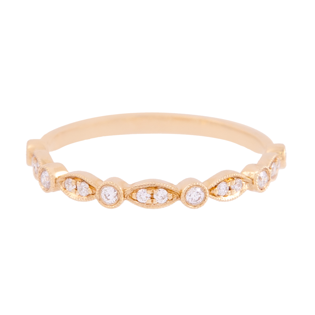 Yellow Gold Marquise and Round Diamond Band