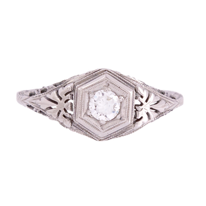 Vintage Diamond Ring in Hexagon Setting