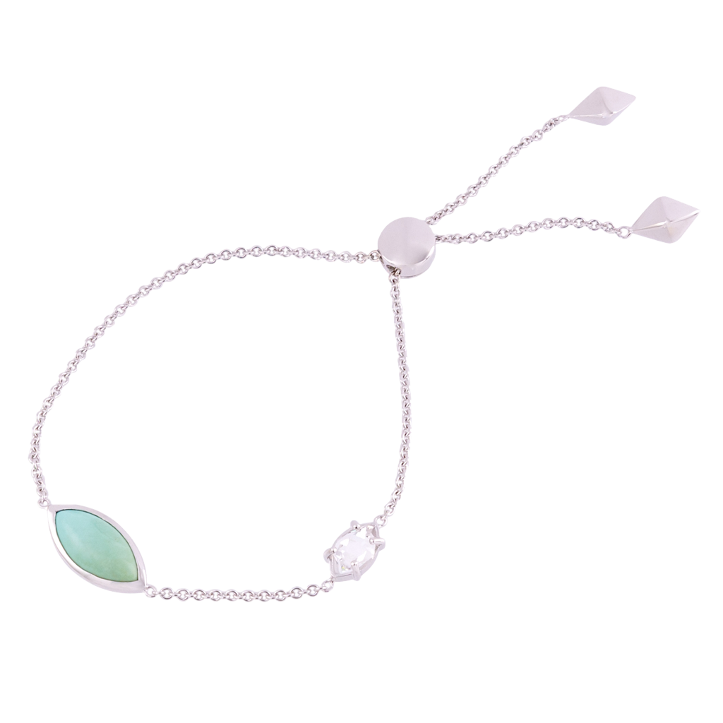 Constellation Marquise Turquoise and Herkimer Bolo Bracelet