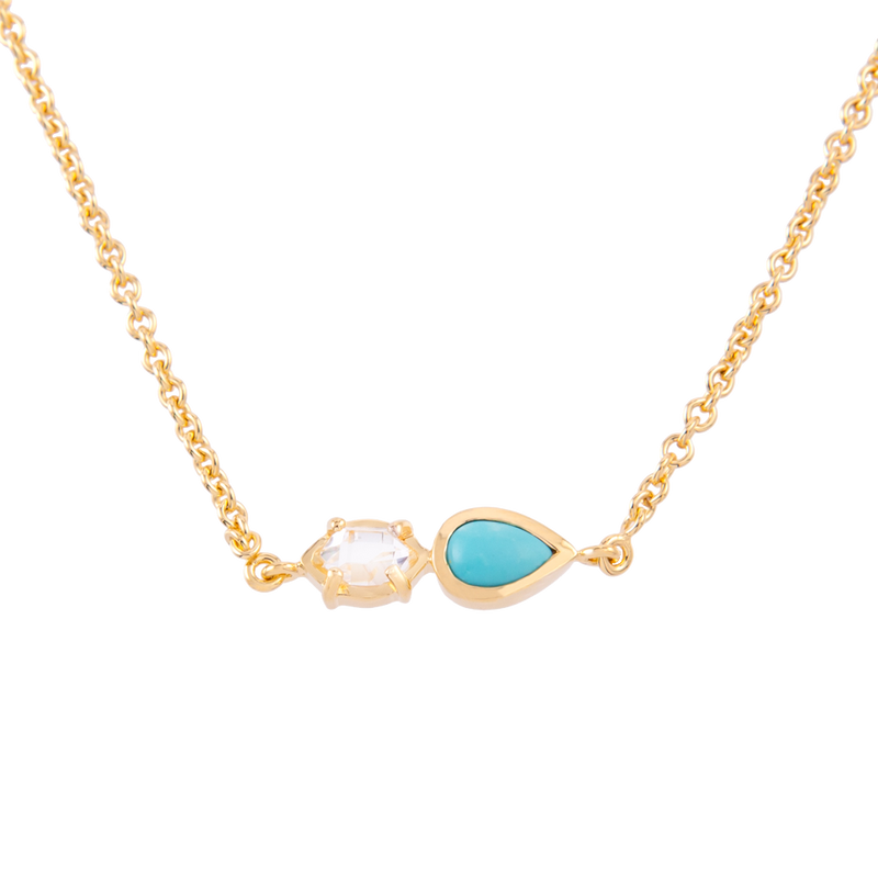 2-Stone Herkimer Diamond and Turquoise Pear Necklace