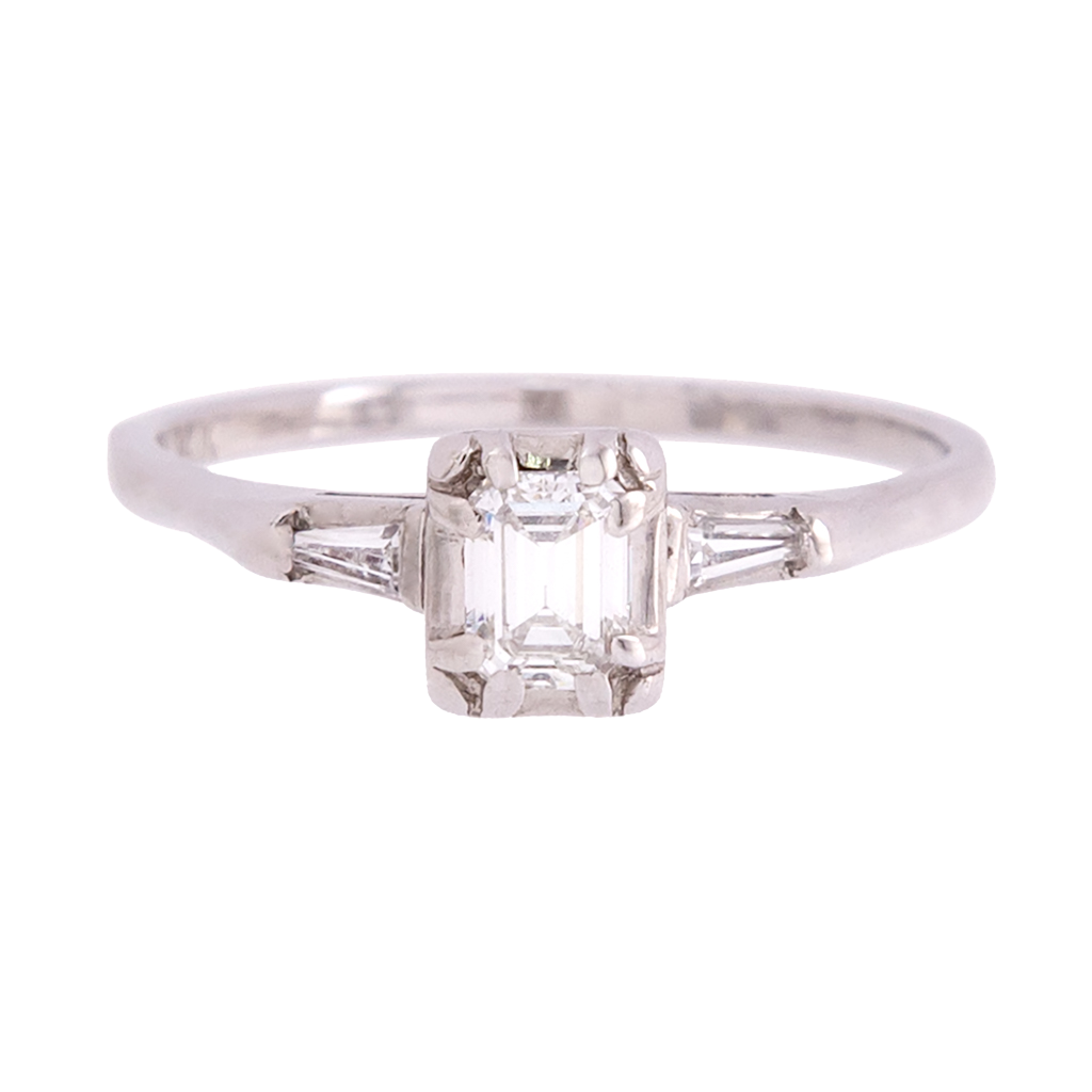 Three Stone Vintage Emerald Cut Diamond Ring