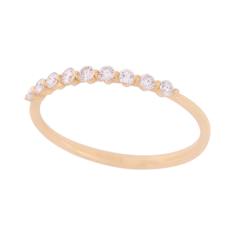 Yellow Gold Round Diamond Band