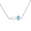 Silver 2-Stone Herkimer Diamond and Turquoise Oval Necklace