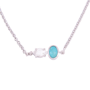2-Stone Herkimer Diamond and Turquoise Oval Necklace