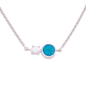 Signature Herkimer Diamond and Turquoise Round Necklace
